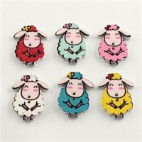 """Wood Sheep Button30mm x 21mm(1 1/8"""" H x 7/8"""" W)Choose ColorMin. 1 Doz. - Product Image"""