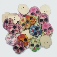 "Wood Skull Button25mm x 20mm(1"" x 3/4"")Mixed ColorsMin. 1 Doz. - Product Image"