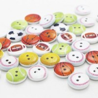"LOGIN TO VIEW PRICINGWood Sport Ball Button15mm (5/8"") diaChoose DesignMin. 1 Doz. - Product Image"