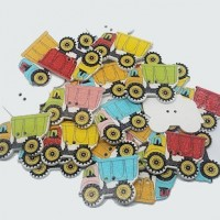 "Wood Truck Button32mm x 22mm(1 1/4"" x 7/8"")Mixed ColorsMin. 1 Doz. - Product Image"